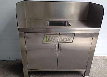 Gabinete de cozinha em aço inox
